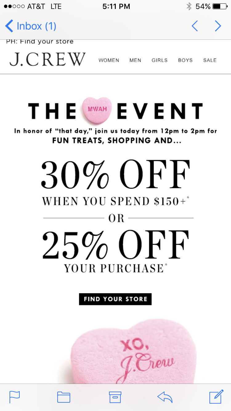 Valentine's Retail Email Promotion