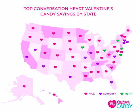 Top Conversation Heart Valentine's Candy Sayings List by State & Nationwide (Mapped By State)